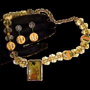 Geisha in Shadow Box Demi-Parure: Necklace & Earrings