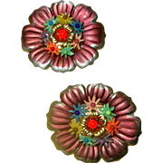 NICE PRICE! Charming Czech Tin-Flower Scatter-Pin Duo