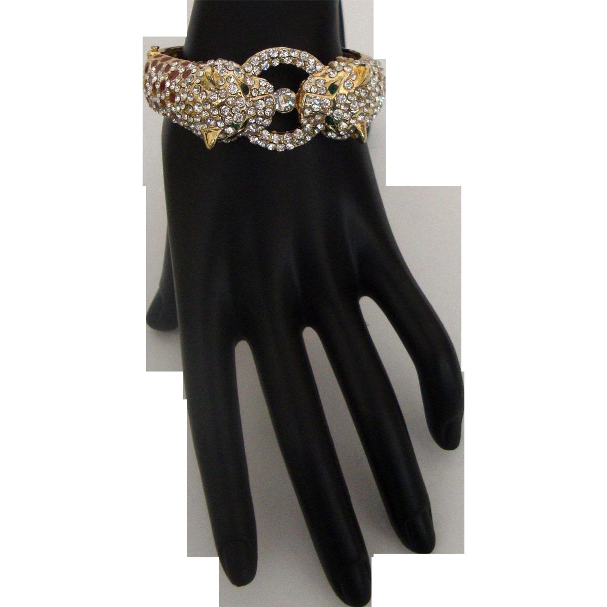 Signed KJL - Kenneth Jay Lane Cheetah or Leopard Clamper Bracelet: Brown Spots: New/Old Stock