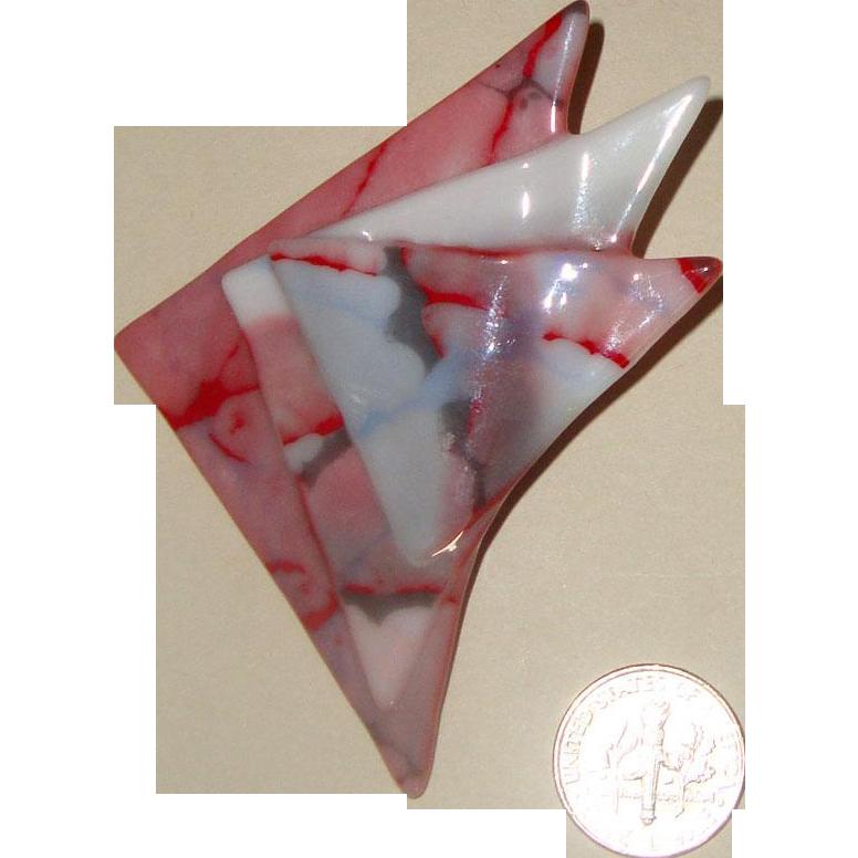 Handsome Modernist Art-Glass Brooch: Geometric