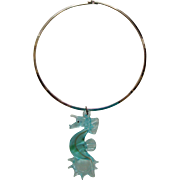 Large Glass Seahorse Pendant Necklace