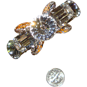 Glorious Signed Wendy Gell Clear Rivoli & Glass-Cabochons Bracelet