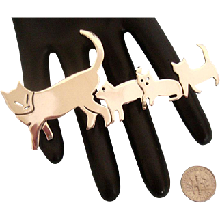 """4"""" Long Mama Cat & Kittens Brooch: Sterling: Mexico: Modernist"""