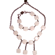 Richard Martin Paris Ceramic-Squares Necklace & Bracelet: Demi-Parure