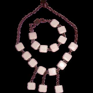 Richard Martin Paris Ceramic-Squares Necklace & Bracelet: Demi-Parure