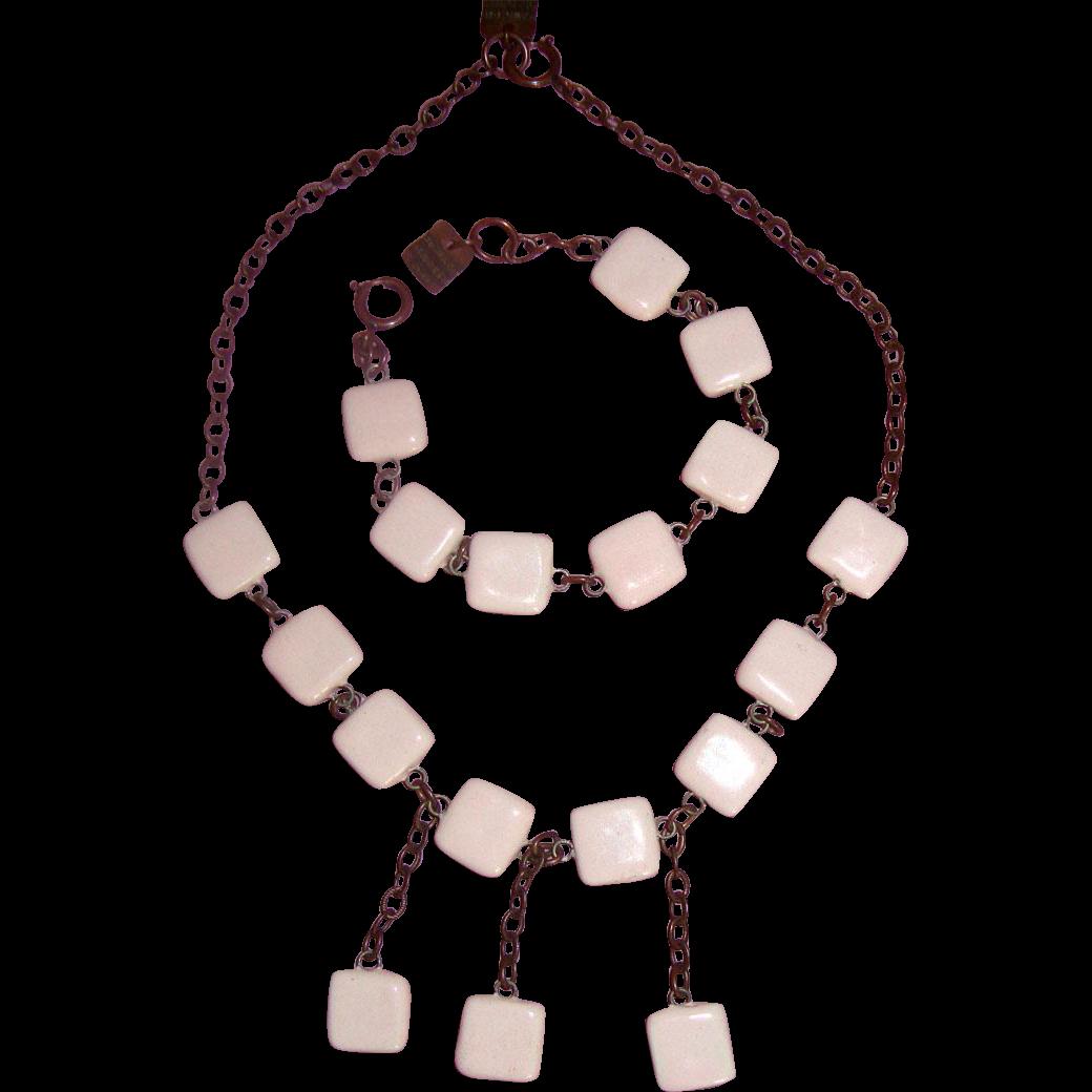 LAST CHANCE!  Richard Martin Paris Ceramic-Squares Necklace & Bracelet: Demi-Parure