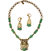 Happy Buddha Demi-Parure: Earrings & Necklace:  Book Piece Design