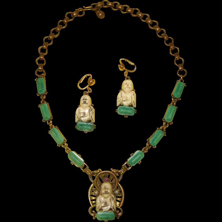 Happy Buddha Demi-Parure: Earrings & Necklace:  Book Piece Design