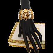 Whimsical Lady Face Big-Cuff Bracelet:  OOAK