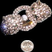 Signed KJL - Kenneth Jay Lane Cheetah or Leopard Clamper Bracelet: Black Spots: New/Old Stock