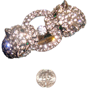 Signed KJL - Kenneth Jay Lane Cheetah or Leopard Clamper Bracelet: Black Spots: New/Old Stock