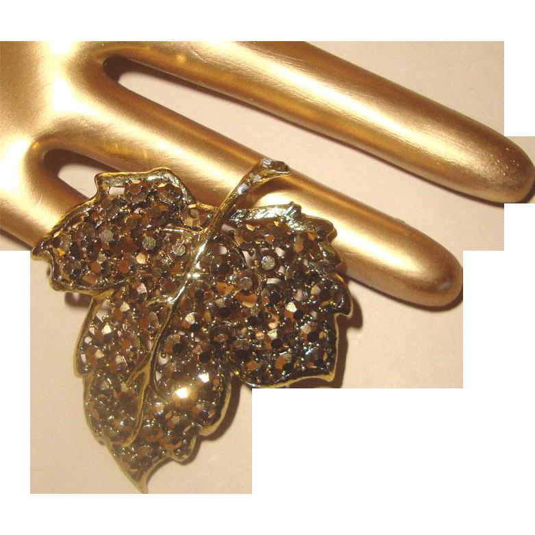 Gorgeous Bronze Gold-Aurum-Glass Stones WEISS Brooch: Leaf Figural