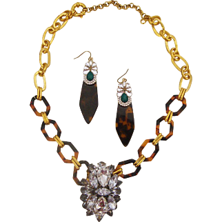 Faux Tortoiseshell & Rhinestones Necklace & Earrings: New/Old Stock