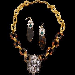 Faux Tortoiseshell & Rhinestones Necklace & Earrings: New/Old Stock