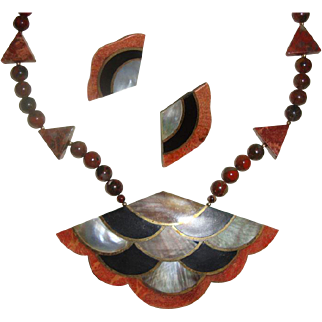 Egyptian Revival Inlaid Abalone Necklace & ER's: Possibly Unsigned Lee Sands