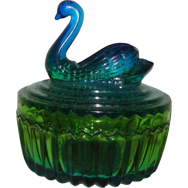 Jeanette Glass Swan Powder Jar or Trinket Bowl: Blue-Green Amberina