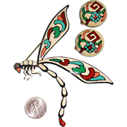 HUGE Enameled Dragon Fly Brooch & Earrings: Demi-Parure
