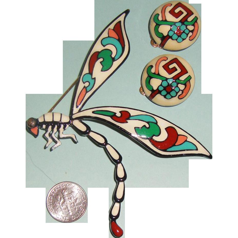 HUGE Enameled Dragon Fly Brooch & Earrings: Demi-Parure