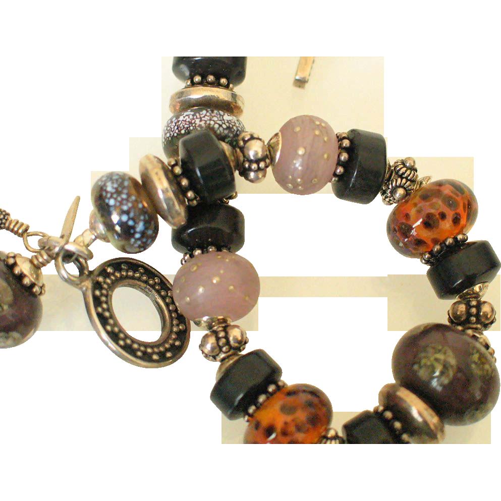 Mahogany Obsidian  Lampwork Bracelet  by Pilula Jula 'You Wreck Me'