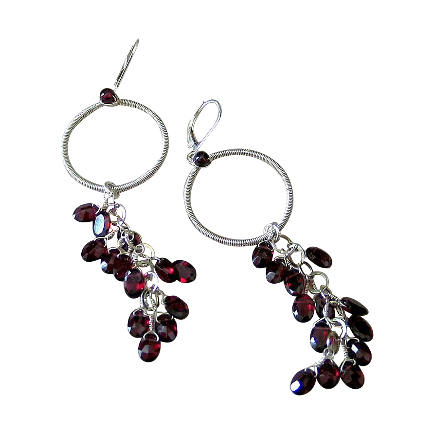 Red Garnet Hoop Earrings by Pilula Jula 'Vapor'