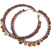 Spiked Hessonite Hoop Earrings  by Pilula Jula 'Sun Drop II""