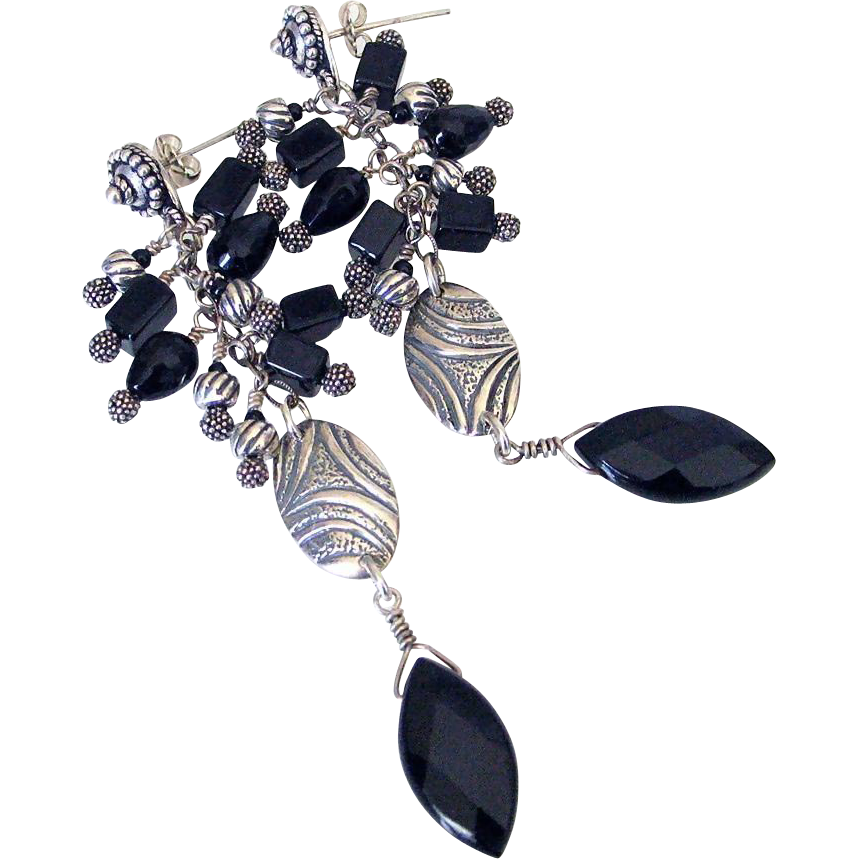 Black Onyx Cluster Earrings by Pilula Jula 'outlaws of love'