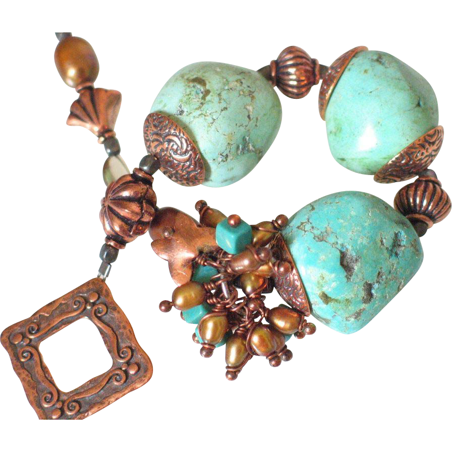 Turquoise & Copper Bracelet by Pilula Jula 'Wrecking Ball'