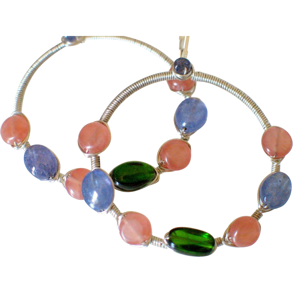 Wire Wrapped Gemstone Hoop Earrings by Pilula Jula 'Brave Dancing'