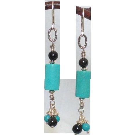 Blue Turquoise & Black Obsidian Earrings by Pilula Jula 'Come Undone'