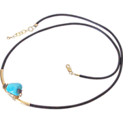 Sleeping Beauty Turquoise & Diamond Drusy Leather Necklace by Pilula Jula 'Pyramids'