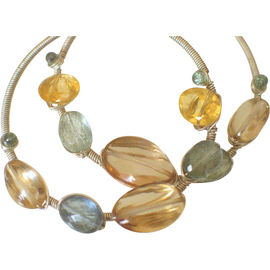 Gemstone Hoop Earrings by Pilula Jula 'Moonslide II'