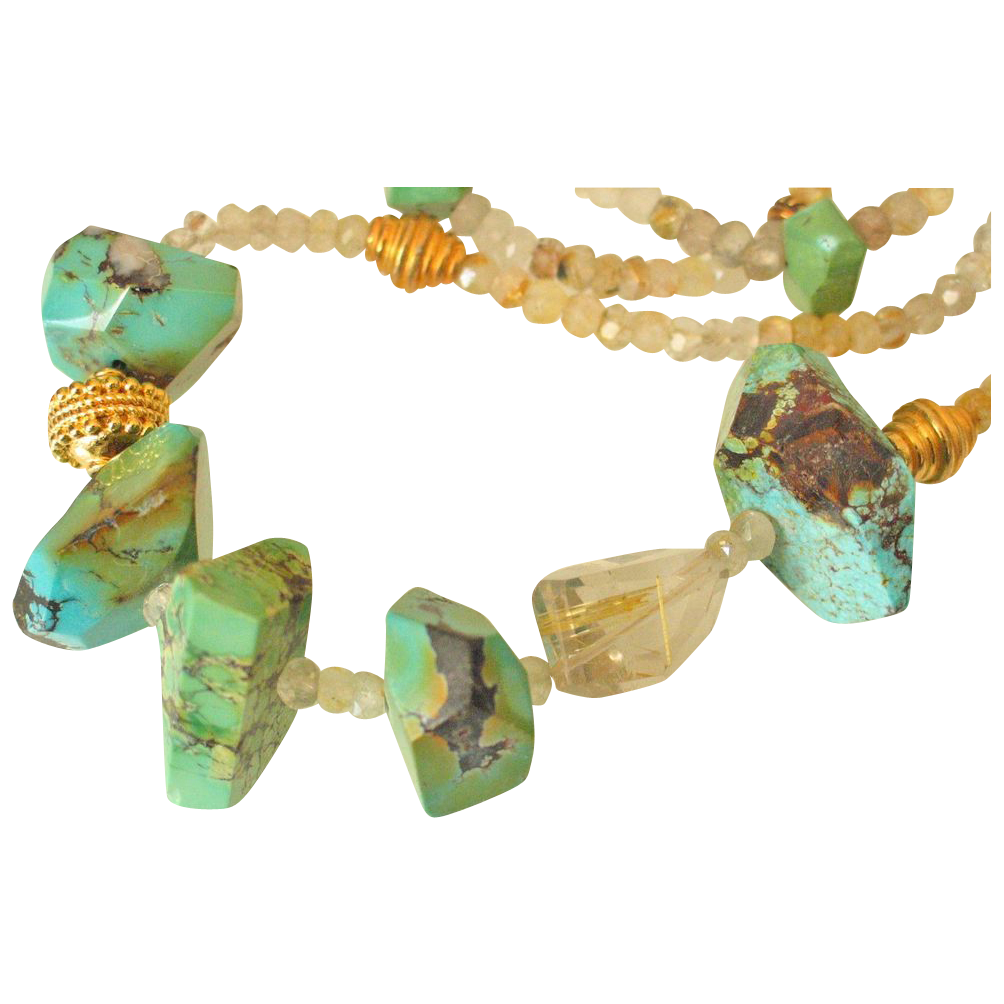 Turquoise & Gold-Rutilated Quartz Body Necklace by Pilula Jula 'Some Like It Hot'