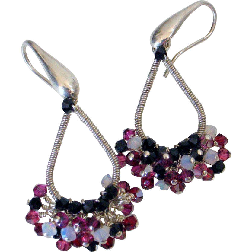Swarovski Crystal Wire Wrapped Earrings by Pilula Jula 'Final Attraction II'