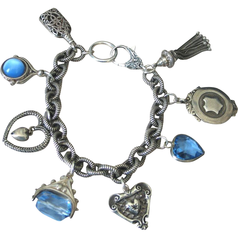 Assembled Bracelet  of Collectible Charms in Blue by Pilula Jula ' Sky'