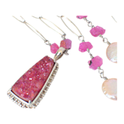 Hot Pink Drusy & Ruby Body Necklace by Pilula Jula 'Ultima'