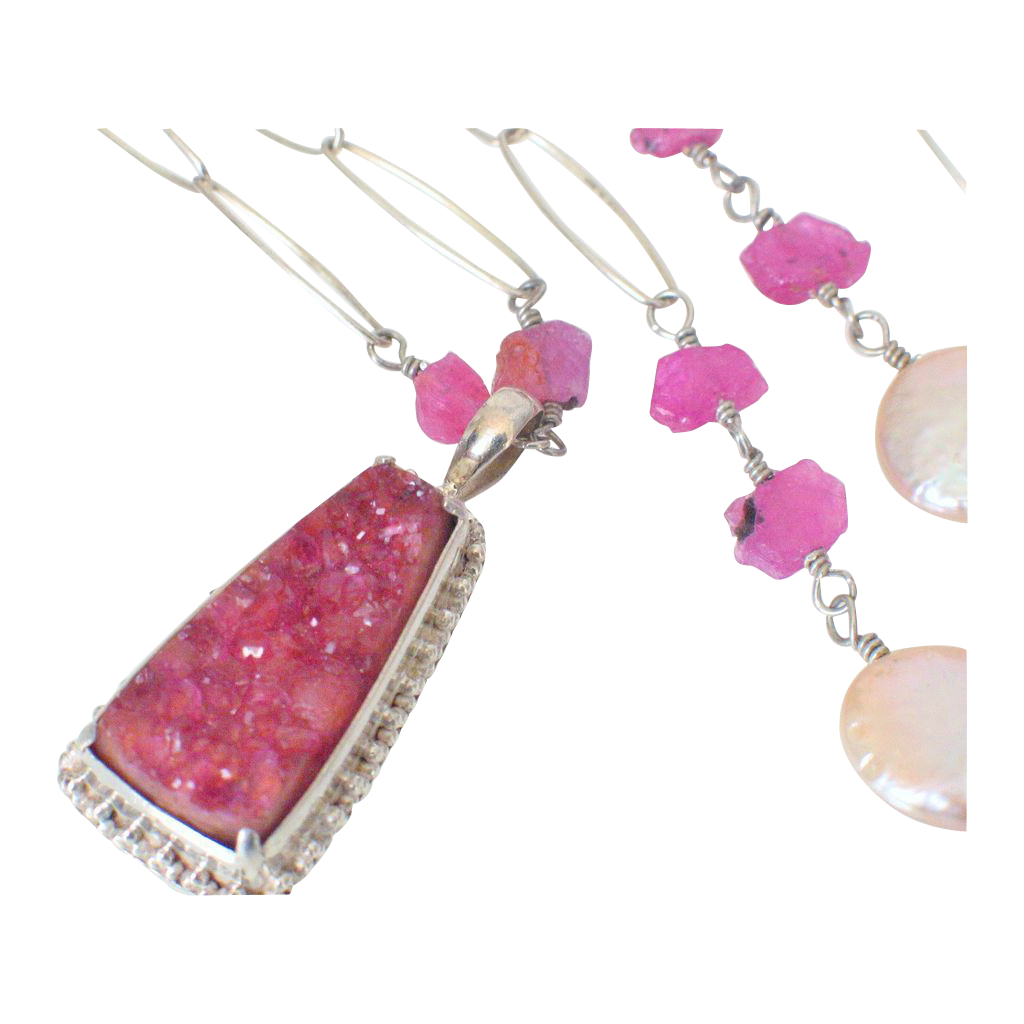 Hot Pink Drusy & Ruby Body Necklace by Pilula Jula 'Ultima'