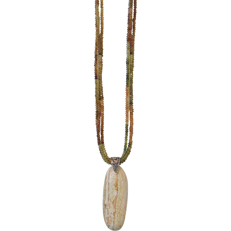Petro Tourmaline & Jasper Pendant Necklace by Pilula Jula 'Alligator Dance'