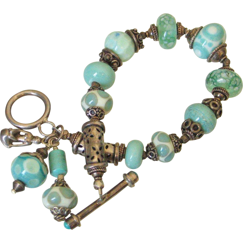 Sleeping Beauty Turquoise & Lampwork Beaded  Charm Bracelet by Pilula Jula 'In The Cage'