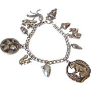 Sterling Padlock Charm Bracelet Squirrels & Acorns by Pilula Jula 'Stash'