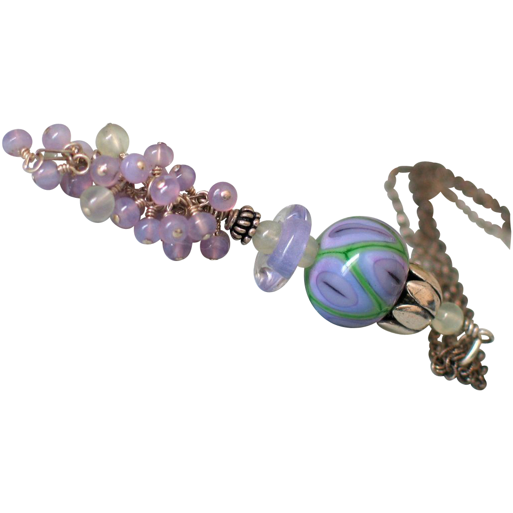 Holly Blue Chalcedony & Prehnite Lampwork Pendant Necklace by Pilula Jula ' Sunrise Highway'