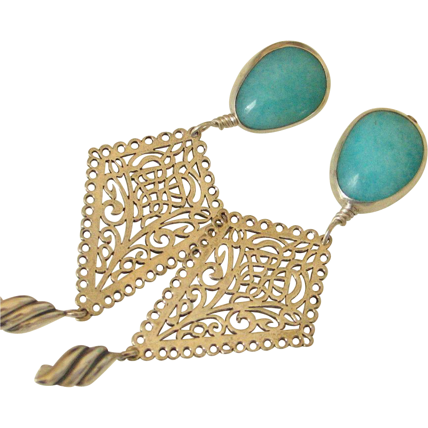 Gem Peruvian Amazonite Earrings by Pilula Jula 'Lady on the Water'