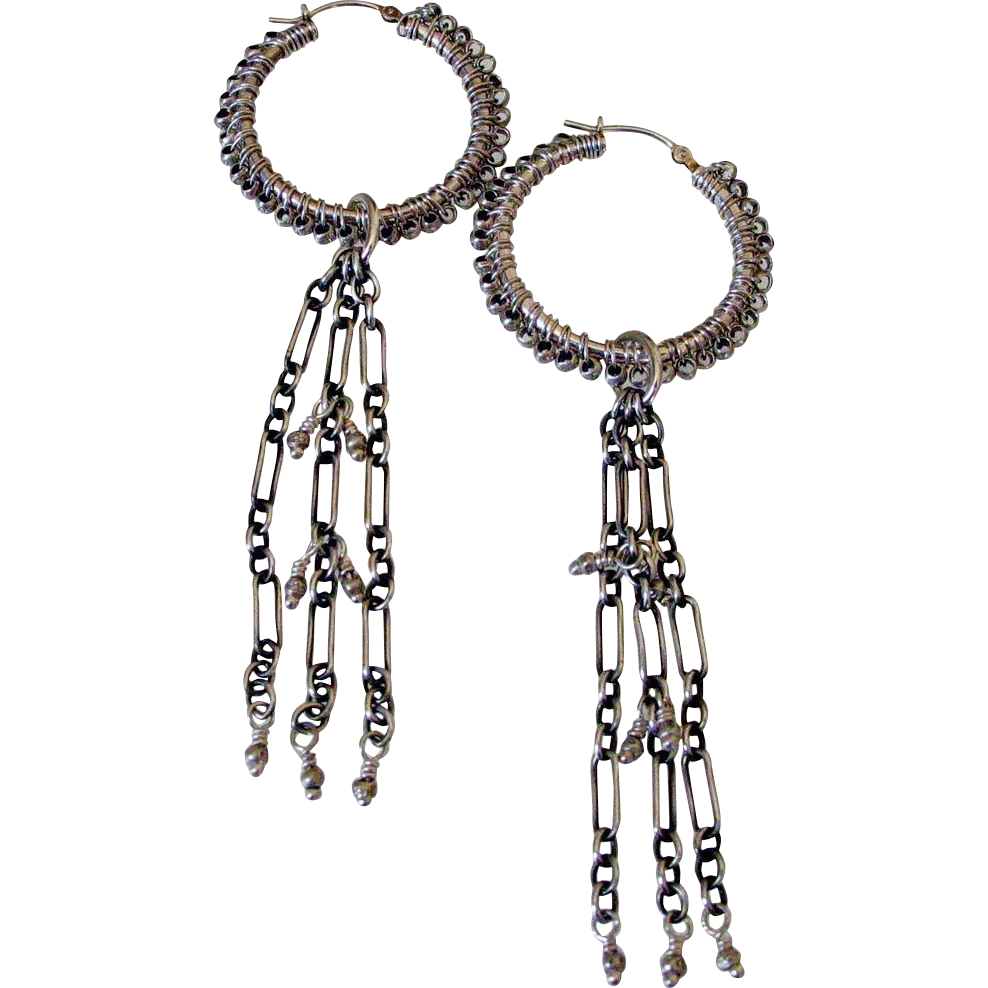 Sterling Silver Hoop & Tassel Earrings by Pilula Jula 'Chain of Fools'
