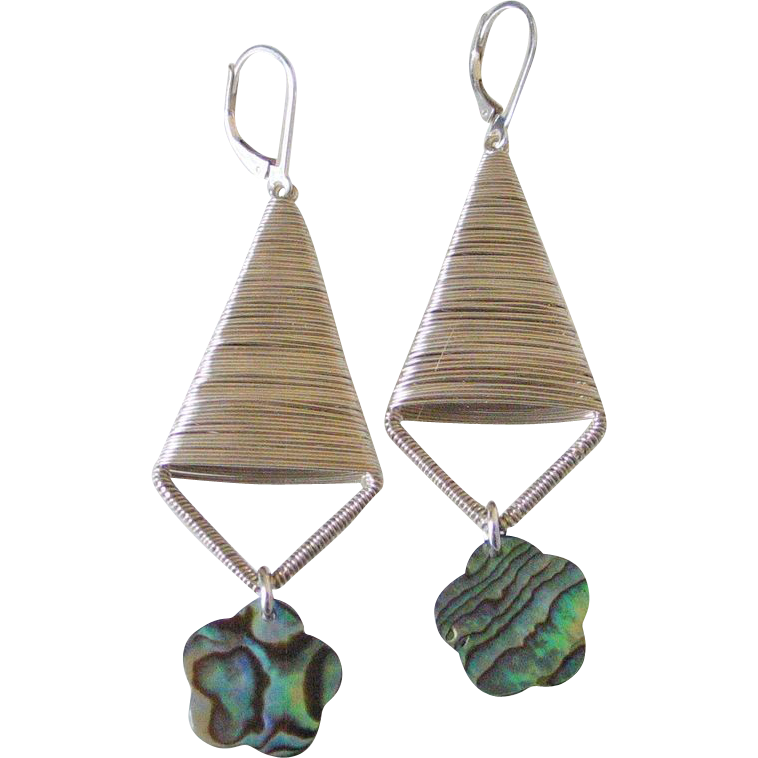 Paua Shell Flower Earrings by Pilula Jula 'Both Sides Now II'