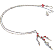 Coral  Branch & Natural Japanese Saltwater Keishi Pearl Necklace by Pilula Jula 'To the Beach'