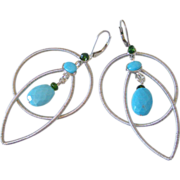 Gem Sleeping Beauty Turquoise & Chrome Diopside Original Earrings by Pilula Jula 'Dancing With a Tornado'