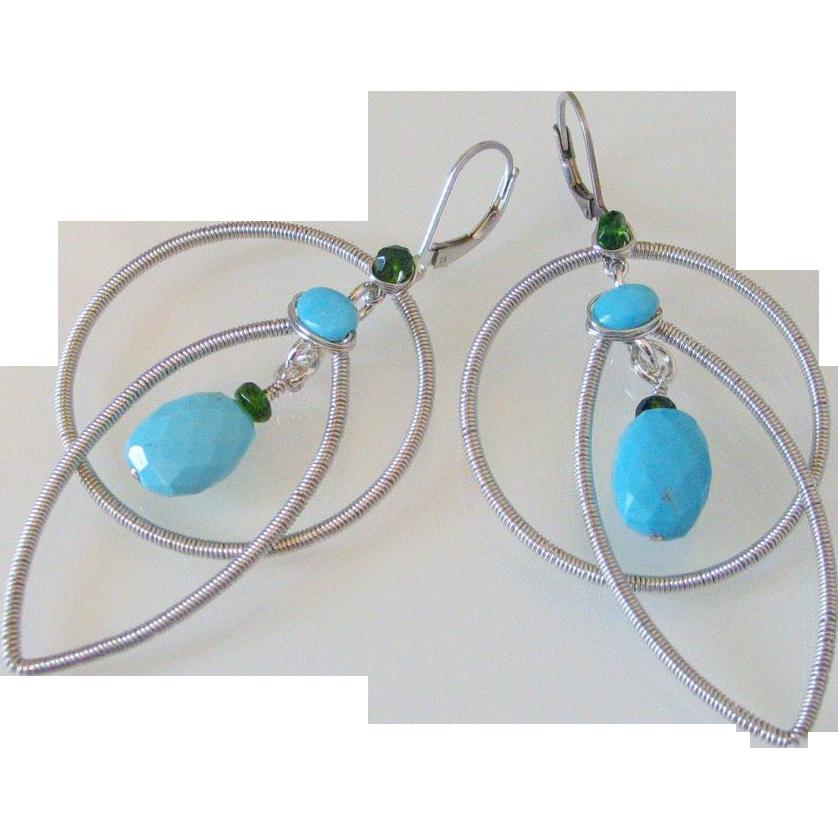 Gem Sleeping Beauty Turquoise & Chrome Diopside Original Earrings by Pilula Jula 'Dancing With a Tornado'