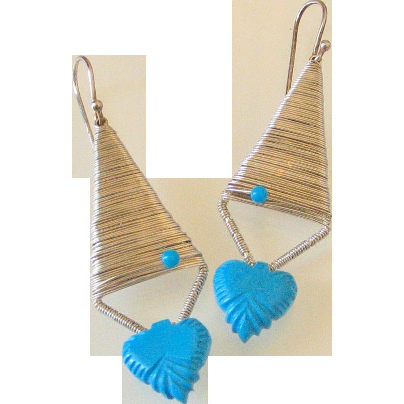 Carved Turquoise Original Earrings by Pilula Jula 'Zero Below'
