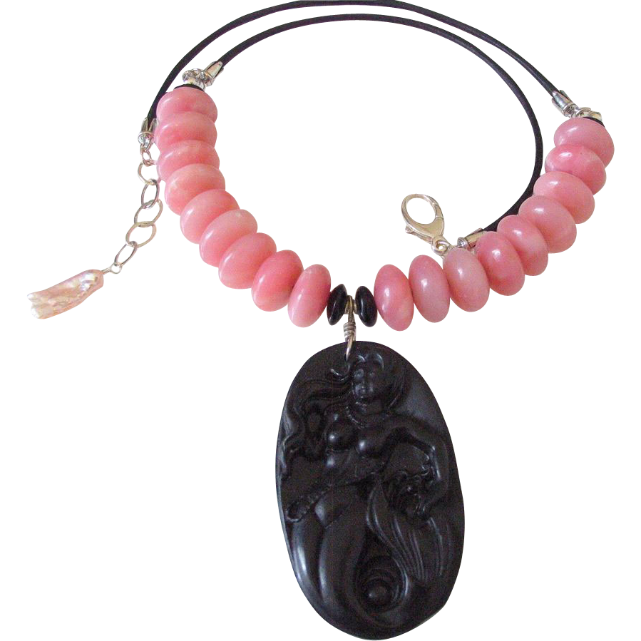 Carved Mermaid Pendant with Peruvian Pink Opal & Leather Necklace by Pilula Jula 'Wild 4 Ever'