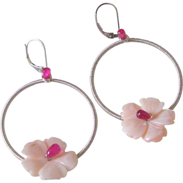 Ruby Flower Hoop Earrings by Pilula Jula 'Plumeria'