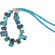 Spider Web Turquoise Necklace by Pilula Jula 'Zebra Go Seek'